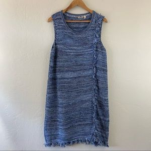 Anthropologie Periwinkle Blue Knitted Fringe Dress